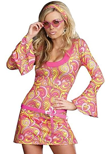 Women's Adult Retro Paisley Gogo Dancer Halloween Party Dress Costume. Stretch knit retro pattern A-line go go dancer dress has bell shaped long sleeves and unique shaped neckline. Includes matching retro glasses, ear rings, and faux vinyl daisy belt. (5 piece set) - Get yours now! #promotion