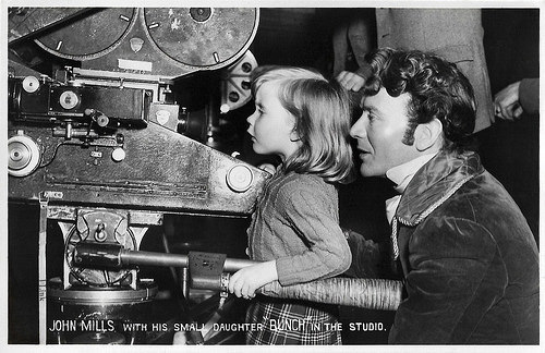 John Mills and Juliet Mills in the studio