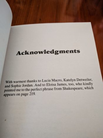 Image: acknowledgements for The Bride Takes a Groom by Lisa Berne (Avon Books)