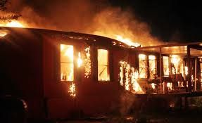 mobile home on fire