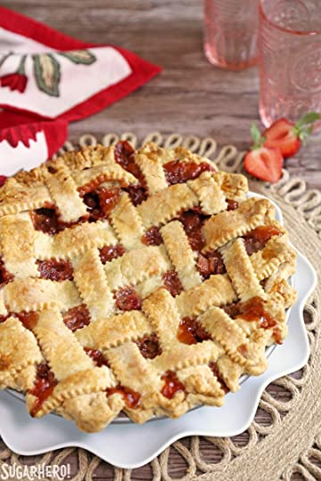 Strawberry Rhubarb Pie - lattice-topped pie on a plate | From SugarHero.com