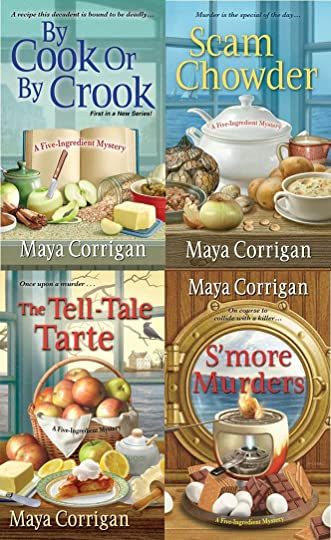 Book covers of By Cook or by Crook, Scam Chowder, The Tell-Tale Tarte, and S'more Murders by Maya Corrigan