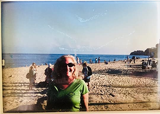 My sister Maureen after discovering the secret of sunscreen (*more on this photo at the end of the post).