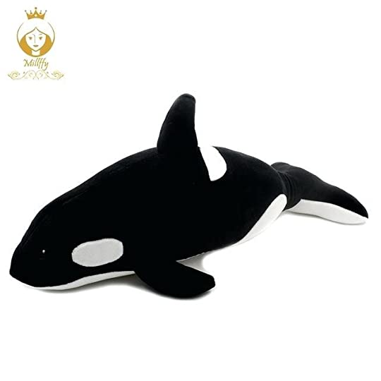 black and white whale killer doll pillow plush toy shark kids beluga clipart