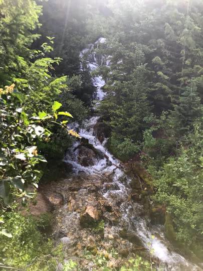 a stream cascades over rocks in what looks like a waterfall