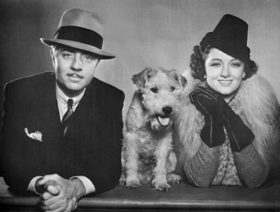 William Powell and Myrna Loy as Nick and Nora Charles, Skippy as Asta