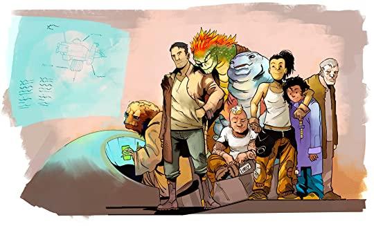 """SebasP. Fan art de la tripulación protagonista de """"El largo viaje a un pequeño planeta iracundo""""."""