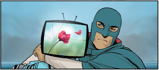 IV trapped with The Will's arm around his neck, his screen showing a flower with a petal floating away