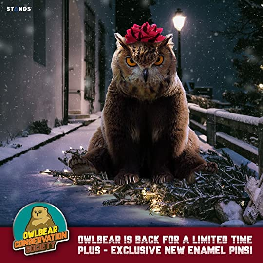 The majestically grumpy Owlbear is back for one week only! Perfect time to get a tee or hoodie for the holidays. And this time around, we've added some sweet new pins, too.