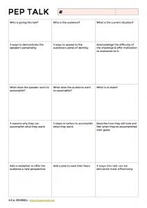 Writing a Pep Talk - NaNoWriMo Worksheet