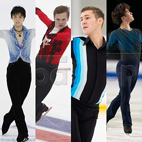 It's All About The Top--(L to R) Japan's Yuzuru Hanyu, Russia's Mikhail Kolyada, USA's Jason Brown, Japan's Shoma Uno