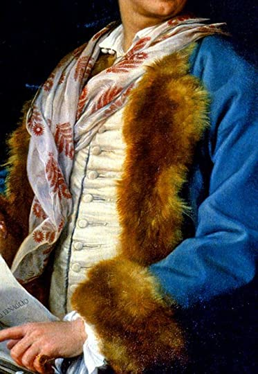Blue velvet banyan, fur lined and with upturned fur cuffs; oyster silk waistcoat; shirt unbuttoned at the throat (two buttons) and no stock suggests the gentleman is