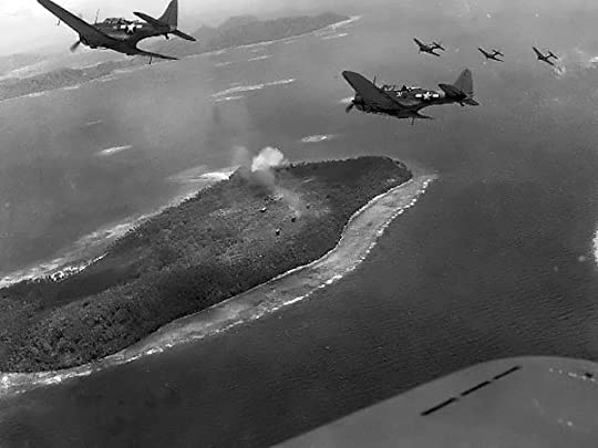 US Navy SBD Dauntless bombers over Truk Atoll, 16-18 February 1944 (US National Archives)