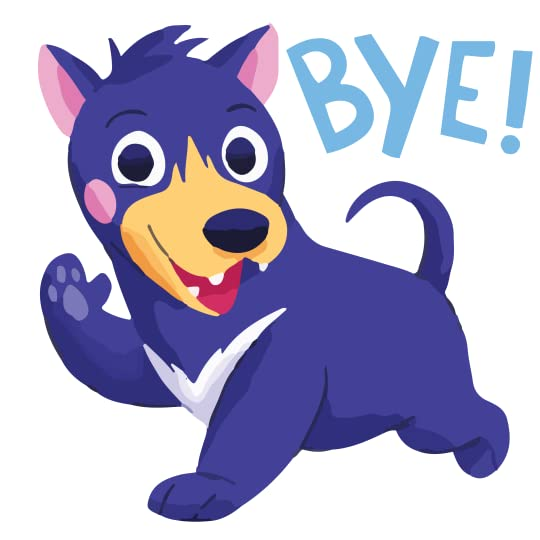a dog waving and saying bye