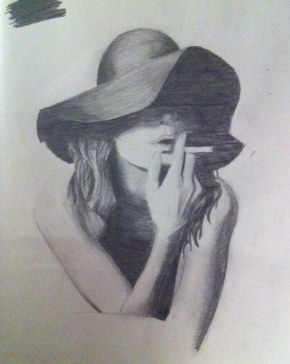 Image result for woman smoking drawing noir