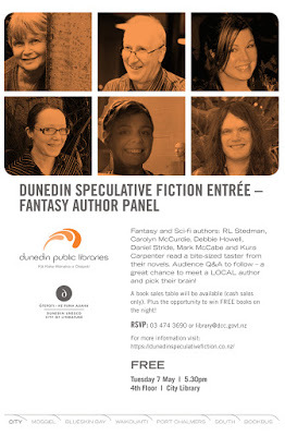 Fantasy Author Panel Tuesday 7th May: Dunedin Speculative Fiction Entrée