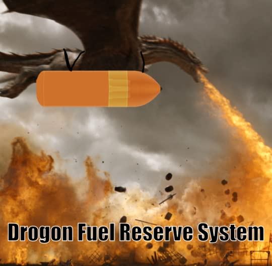 Dragon with large space shuttle fuel tank strapped to it