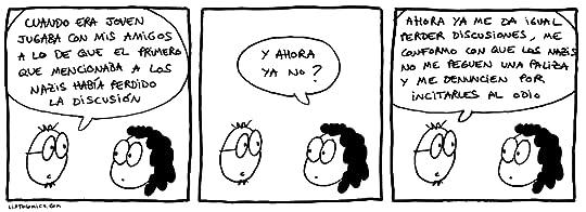 Tira cómica sobre cómo ha quedado de obsoleta la ley de Godwin en España.