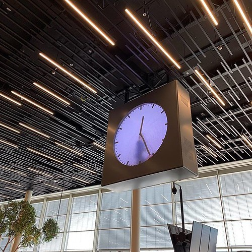 One of my favorite clocks— a screen with a video of someone painting the minute hands, then wiping them off, then painting the next minute, on and on.