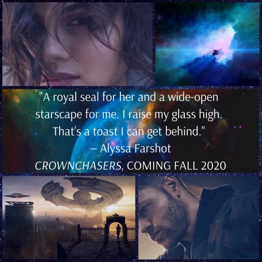 a collage of images from the book CROWNCHASERS, featuring a spaceship, an alien planet, a nebula and the quote