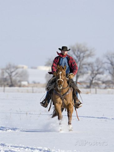 cowboy on horse in snow
