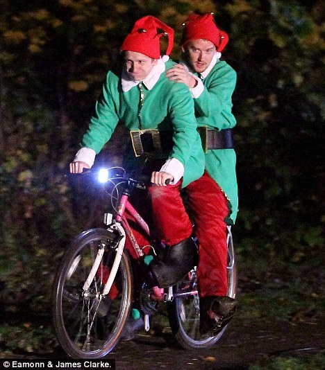 Image result for christmas elves bicycle parade