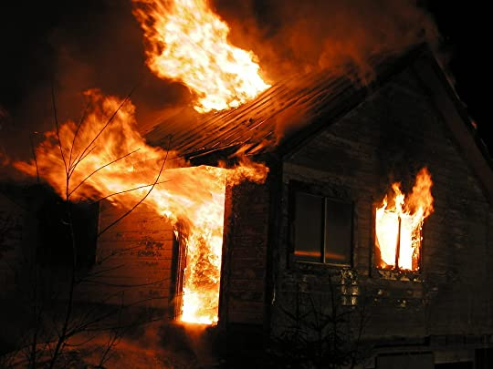 Image result for wood cabin on fire