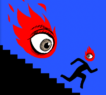 Flame chasing a man down the stairs.