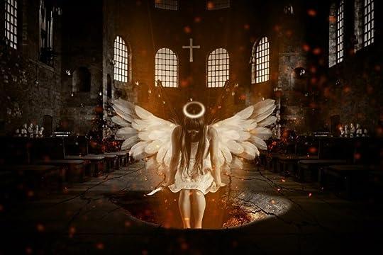 angel in church pit of fire hell dark fantasy
