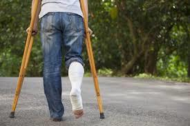 ᐈ Woman with one leg on crutches stock pictures, Royalty Free ...