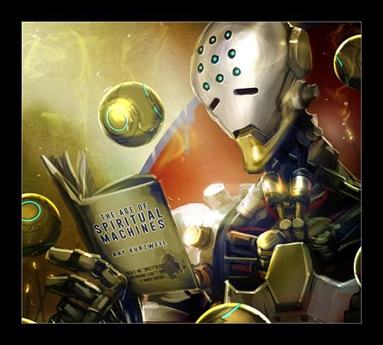 """Zenyatta reading """"Spiritual Machines by Ray Kurzweil"""" #robot ..."""