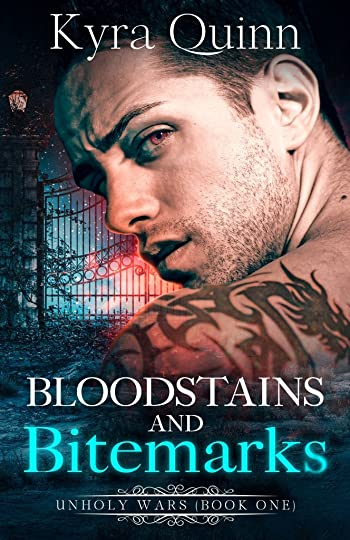 shirtless tattooed man with red eyes and fiery glow book cover Bloodstains and Bitemarks