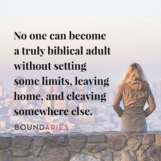 meme with a picture of a young woman sitting on a wall that overlooks at city. It says, No one can become a truly biblical adult without setting some limits, leaving home, and cleaving somewhere else.
