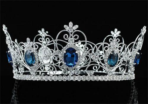 Men Blue King Crown Large Full Circle Round Tiara for Pageant Wedding   PlainSilver on ArtFire