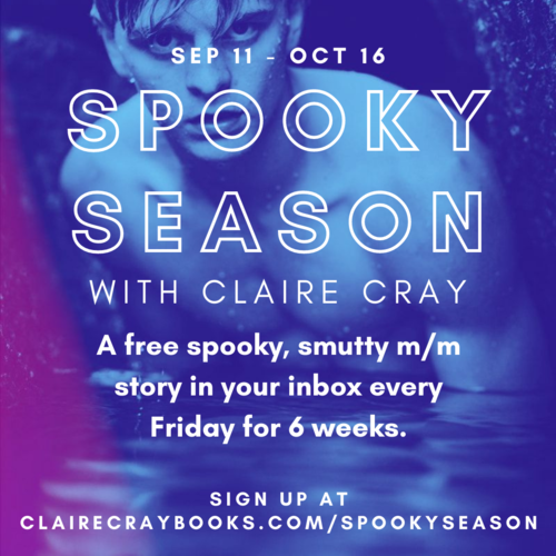 Ad for Spooky Season with Claire Cray: A deep blue-tinted image of a young man emerging from a body of water with an ominous expression, bare skin exposed to just below his chest.