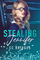 Cover of Stealing Jennifer. Image of a woman with blond hair and dark glasses in front of a computer