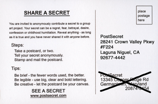 image: post card with Post Secret's new address