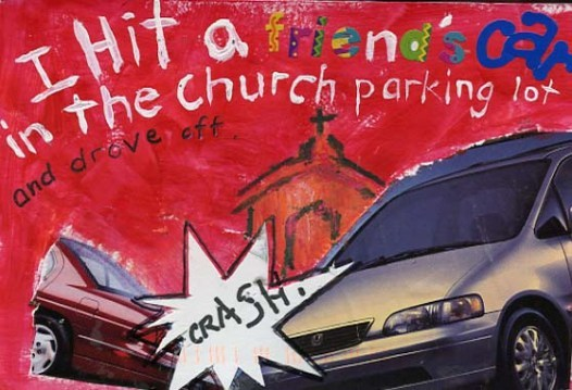 image description: two cars crashing, with a church finger-painted in the background. Text, also finger-painted reads, I hit a friends car in the church parking lot and drove off.