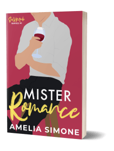 Mister Romance Paperbook - man holding glass of wine on cover