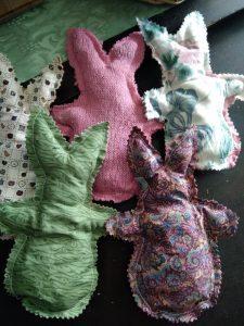 rustic fabric bunnies