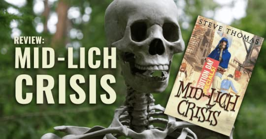 A Skeleton holding the book Mid-Lich Crisis by Steve Thomas