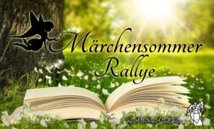 Das Märchensommer Rallye Banner zeigt eine Scherenschnitt-Fee, die Glitzer auf den verschnörkelten Schriftzug