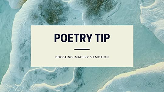 Waves surge across sand. The caption reads: Poetry Tip. Boosting ImageryAnd Emotion.