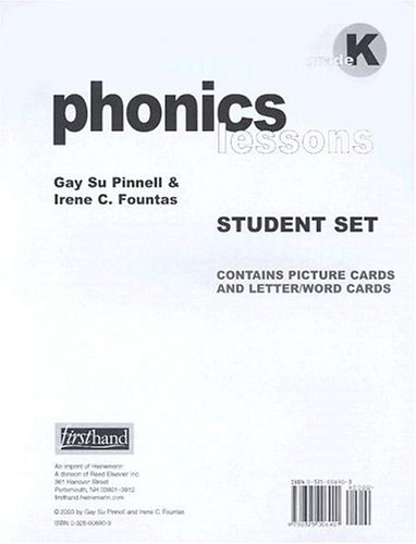 Phonics Lessons Grad K: Contains Picture Cards And Letter/Word Cards Irene C. Fountas