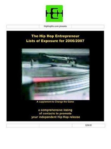 The Hip Hop Entrepreneur Lists of Exposure Walt F.J. Goodridge
