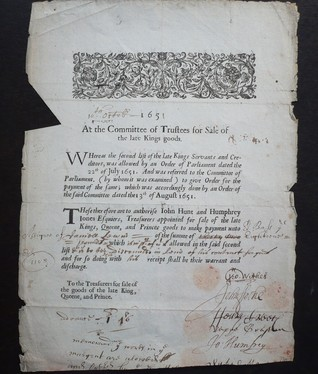 At the Committee of Trustees for Sale of the late Kings goods. 10th October, 1651 George Wither