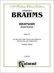 Alto Rhapsody, Op. 53: Ttbb with a Solo (Orch.) Johannes Brahms