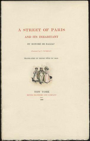 A Street of Paris and Its Inhabitant  by  Honoré de Balzac