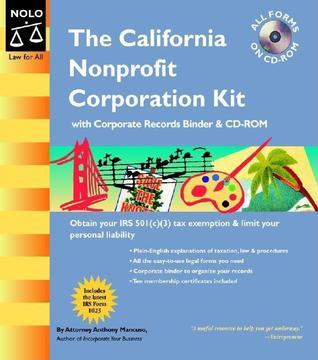 California Nonprofit Corporation Kit Binder with CD Anthony A. Mancuso