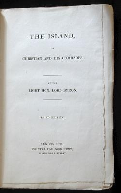 The Island: Or Christian and His Comrades George Gordon Byron